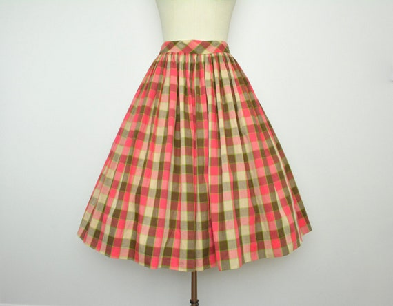 Vintage 1950s Cotton Skirt 50s Plaid Full Skirt