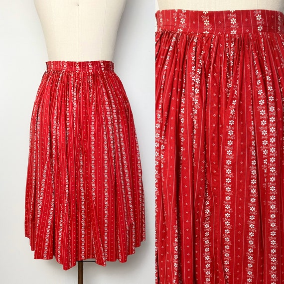 Vintage 1950s Full Skirt 50s Cotton Red and White