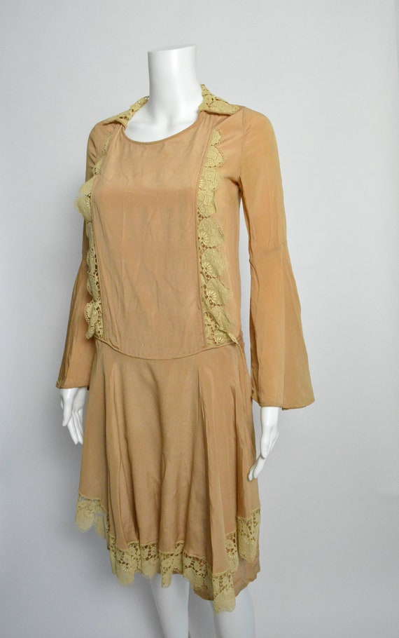 1920s Dress 20s Silk Day Dress with Scalloped Lace - image 2