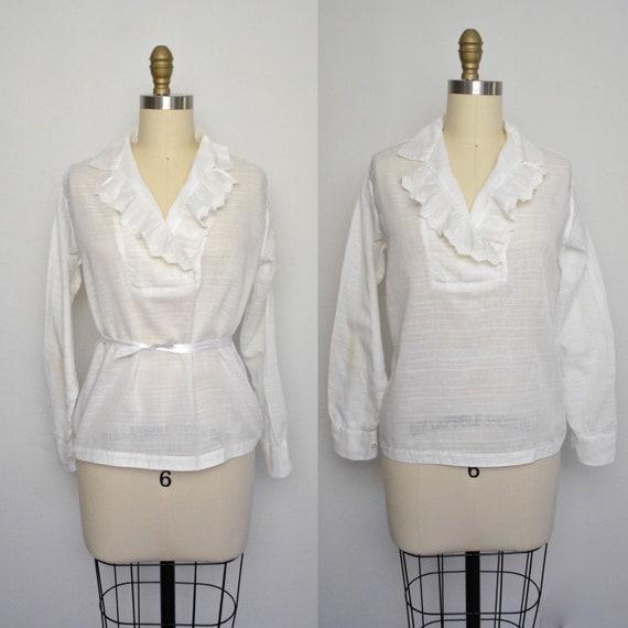 Antique 1920s Blouse White Cotton Ruffle Top Shirt