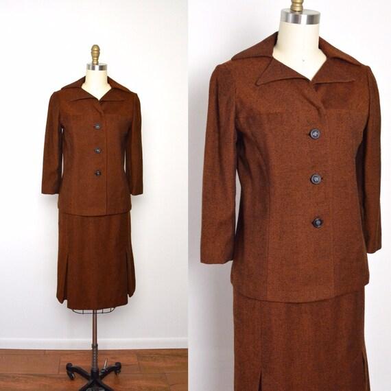 Vintage 1950s Suit 50s Women's Suit Rust Tweed Ski