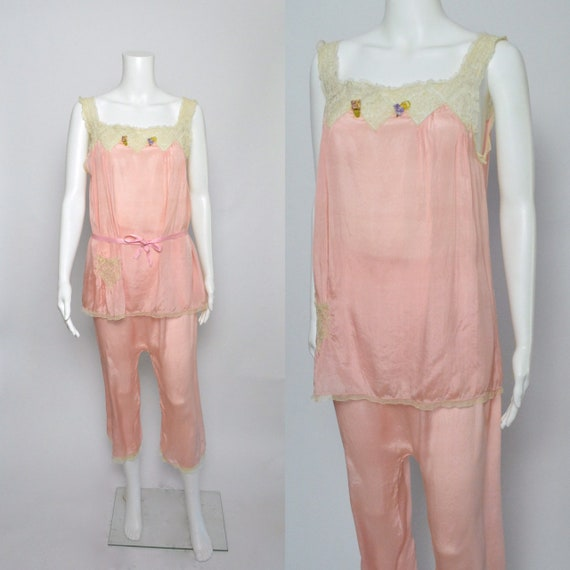 1920s Pajamas Pyjamas 20s Loungewear Pink Silk and