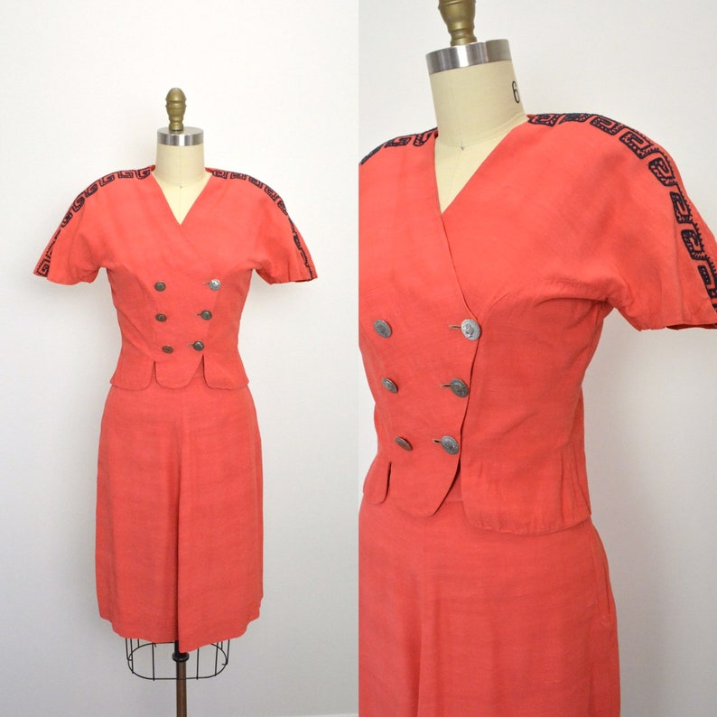 4dab330c5fa061 Vintage 1940s Rayon Suit 40s Coral Greek Key Petite Skirt and | Etsy