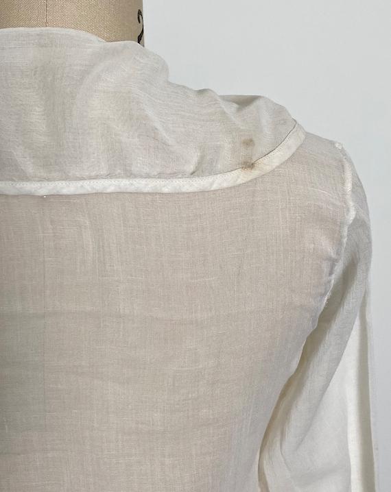 Antique Cotton Blouse 1910s Sheer White - image 8