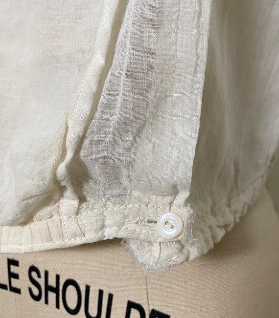 Antique Cotton Blouse 1910s Sheer White - image 9