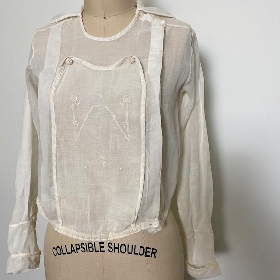 Antique Cotton Blouse 1910s Sheer White - image 2