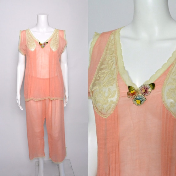 1920s Pajamas Pyjamas 20s Cotton Voile Loungewear