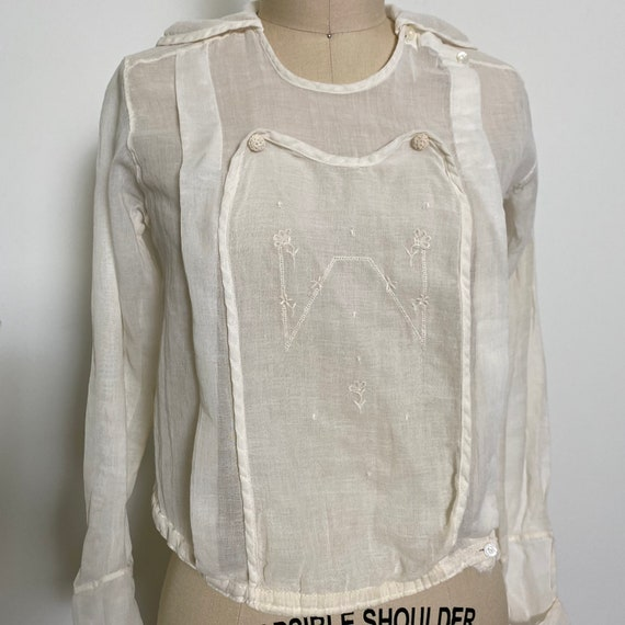 Antique Cotton Blouse 1910s Sheer White - image 3