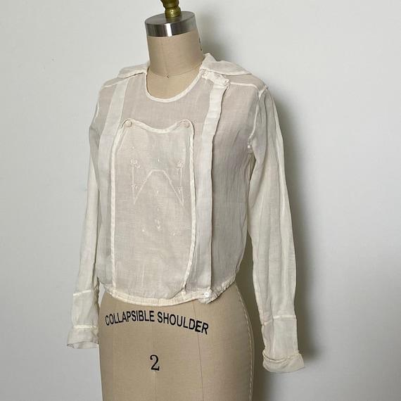 Antique Cotton Blouse 1910s Sheer White - image 1