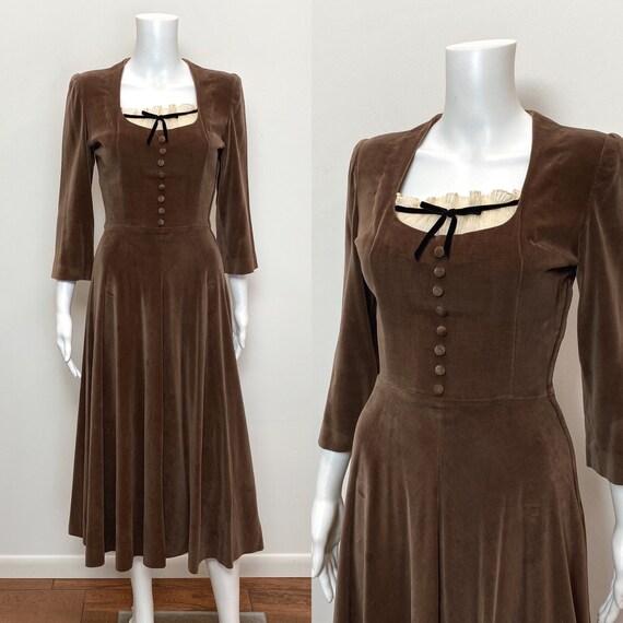 Vintage 1940s Dress 40s Velveteen Brown Day Dress