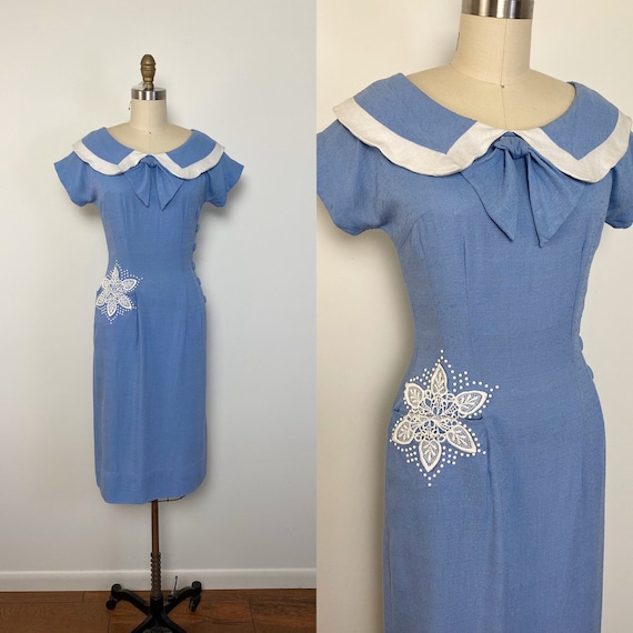 Vintage 1950s Dress 50s Toni Todd Rayon Wiggle Dre