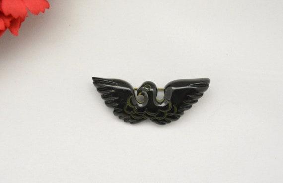 Vintage 1940s Bakelite Brooch 40s Eagle Pin WWII … - image 2