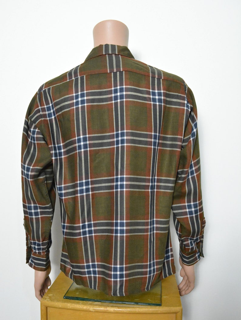 Vintage 1950s Shirt 50s Plaid Looped Collar Deadstock Long Sleeve Size Medium Arrow Made in the USA