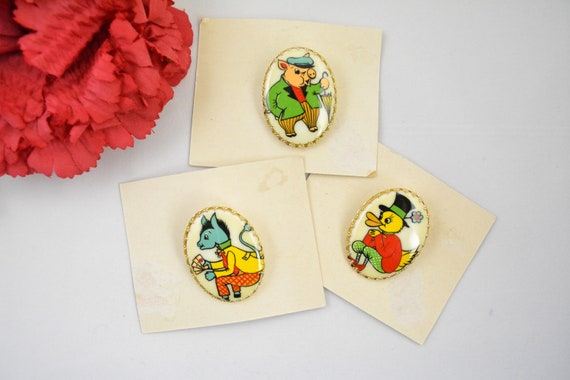 Vintage 1950s 1960s Novelty Brooch Lot Cartoon Ani