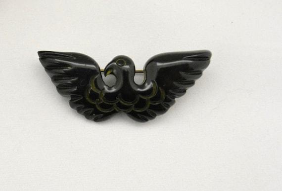Vintage 1940s Bakelite Brooch 40s Eagle Pin WWII … - image 3
