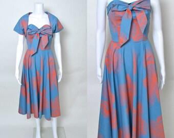 Vintage 1950s Dress 50s Designer Two Piece Set Tabak of California Bolero Strapless Full Skirt