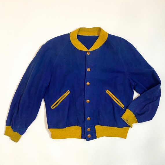 Vintage 1940s Jacket 40s Athletic Sportswear Blue