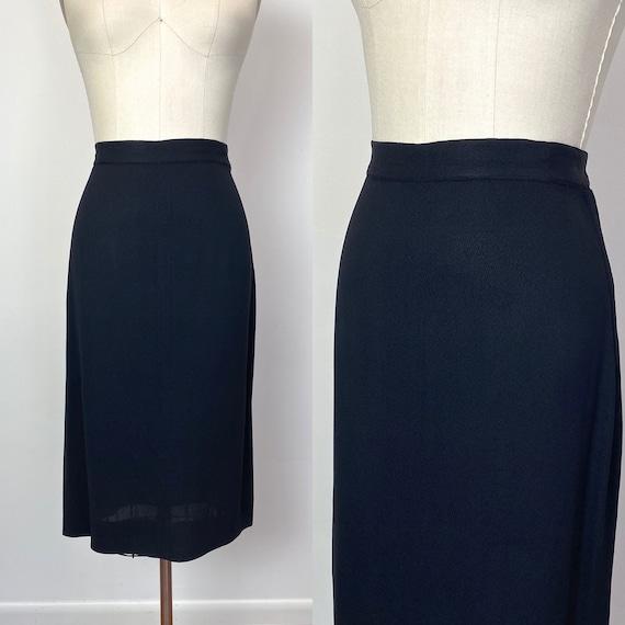 Vintage 1940s Black Crepe Skirt 40s