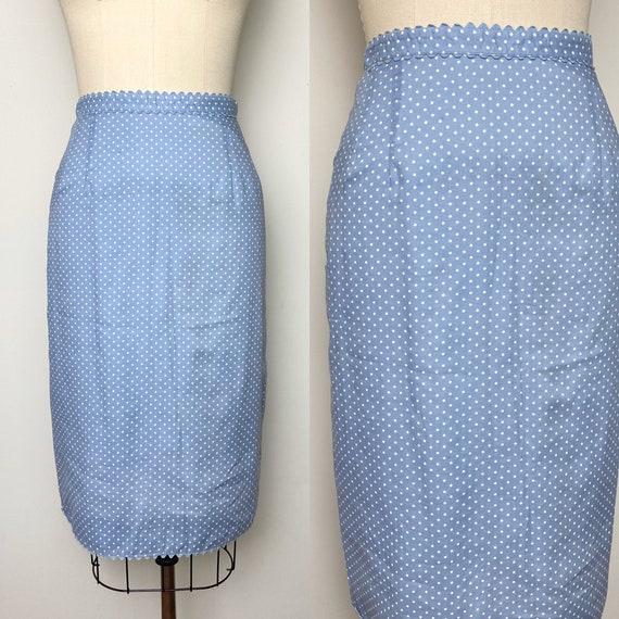 Vintage 1950s Pencil Skirt 50s Polka Dot Wiggle Sk