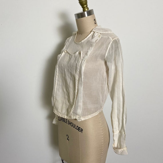 Antique Cotton Blouse 1910s Sheer White - image 5