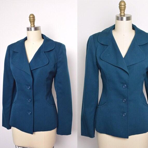Vintage 1970s Chloé Jacket 70s Blazer Teal Designe