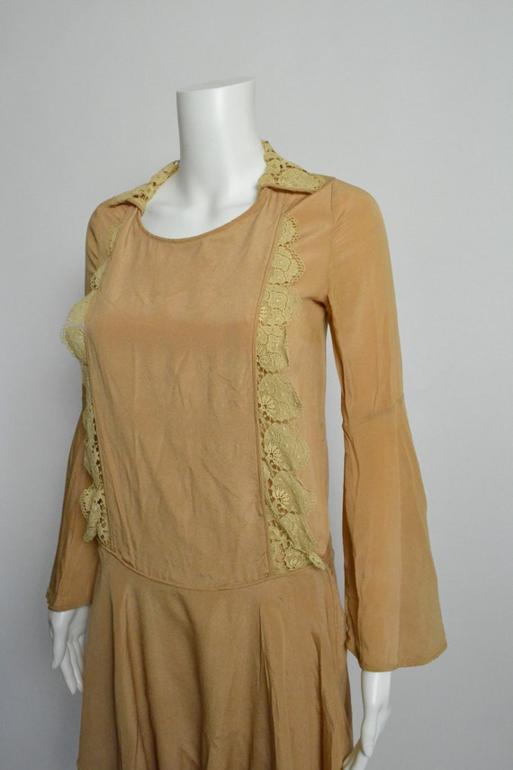 1920s Dress 20s Silk Day Dress with Scalloped Lace - image 3