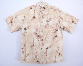 Vintage 1950s Men's Hawaiian Shirt 50s Cotton Tiki Novelty Print Aloha Tropical Size Large