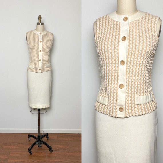 Vintage 1950s Knit Set 50s Skirt and Top