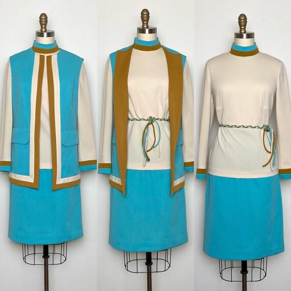 Vintage 1970s Dress Skirt Jacket Belt Set 70s Suit
