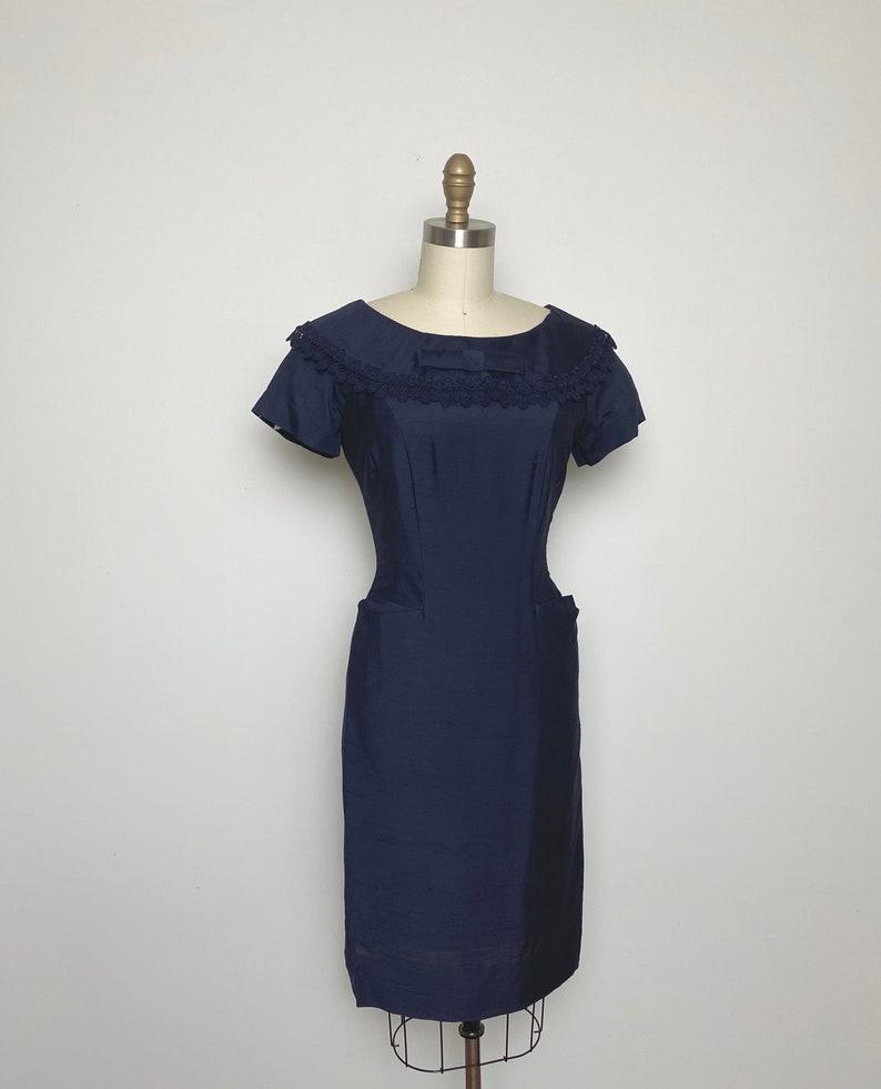 Vintage 1950s Dress 50s Wiggle Dress Navy Blue