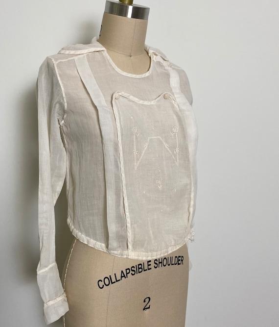 Antique Cotton Blouse 1910s Sheer White - image 6