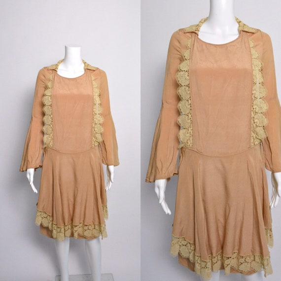 1920s Dress 20s Silk Day Dress with Scalloped Lace