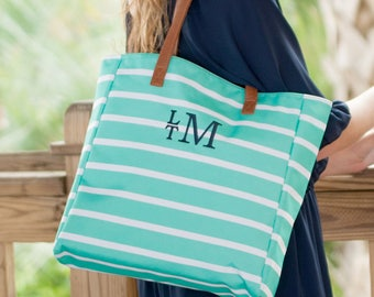 Mint Monogrammed Striped Tote Bag Personalized Mint Tote Bag Striped Beach Bag Style Circle Embroidery Monogrammed Beach Bag