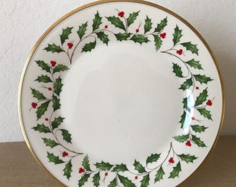"Vintage Lenox Christmas Holiday Dinner Plate, 10-3/4"" Lenox Holly and Berries Plate"