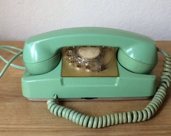 Mid Century Modern Turquoise Princess Telephone, Monophone Rotary Telephone, Aqua Telephone, Electric and Automatic Type 182