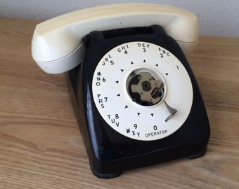Retro White and Black Rotary Dial Desk Top Telephone, Automatic Electric, Bakelite Mid Century Telephone, Office Phone