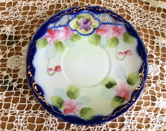 SALE!!!-Stunning Vintage Hand Painted Saucer with Intricate Gold Embellishments, Made in Japan