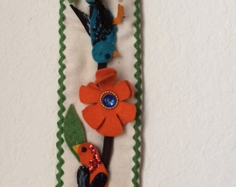 Retro Homemade Felt, Fabric and Sequin Wall Hanging, Yard Stick Cover