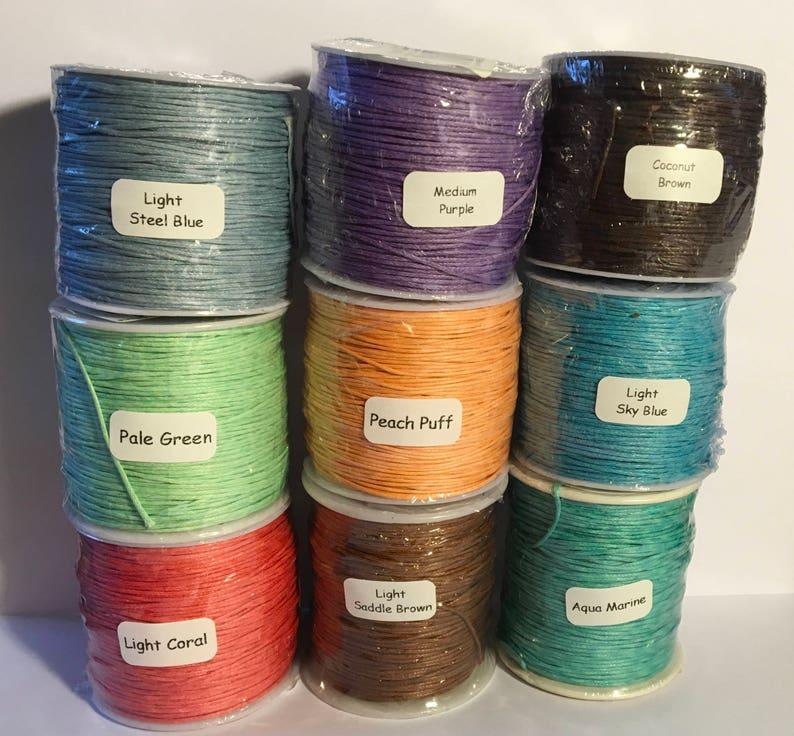 Waxed Cotton Cord 1mm 34 colors New colors added image 0