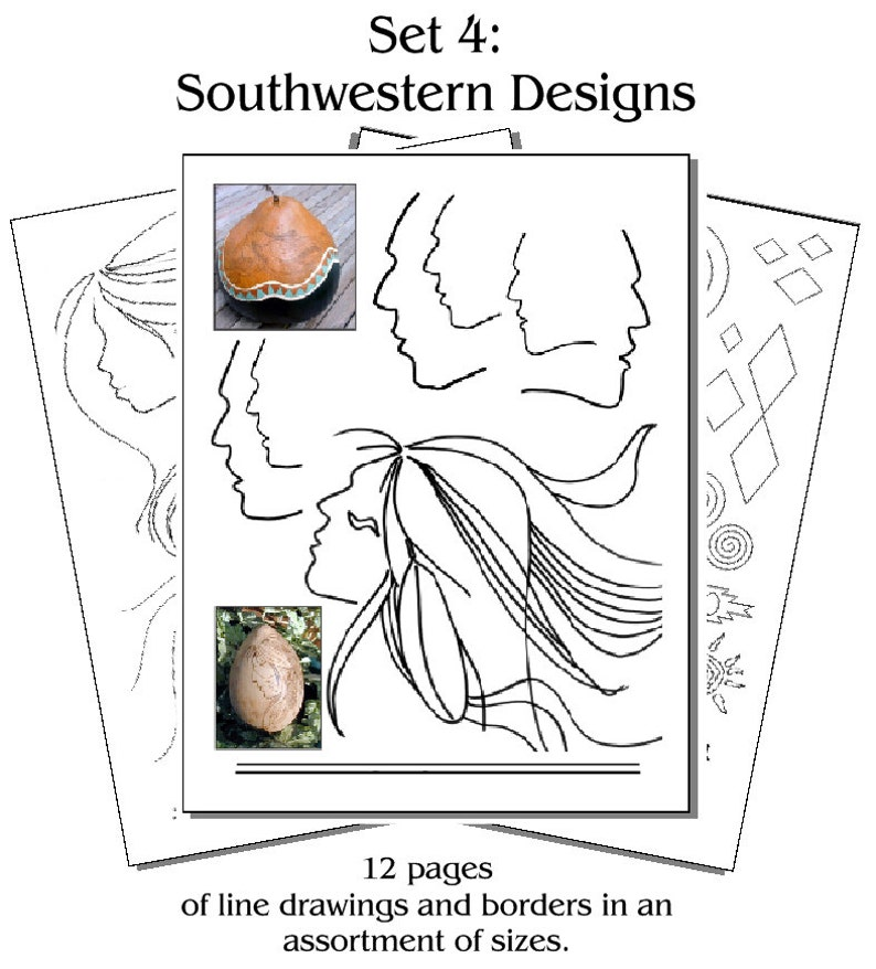 Printed Pyropaper Southwestern Borders Faces Set 4 image 0