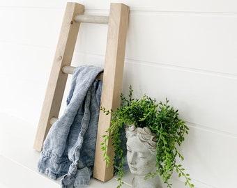 Weathered Oak Rustic Mini Tea Towel Ladder, dish towel storage, kitchen organization, kitchen decor, wooden mini ladder, bathroom towel