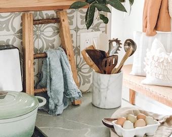 Aged Oak Rustic Mini Tea Towel Ladder, dish towel hanger, kitchen organization, wooden mini ladder, bathroom towel ladder