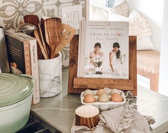 Adjustable Wooden Cookbook Stand, iPad holder, tablet stand, book stand, recipe holder