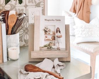 Grey Adjustable Handmade Wooden Cookbook Stand. Book,Tablet, recipe holder
