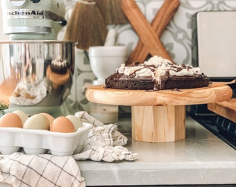 Wooden Unstained Cake Stand | Wood Cupcake Stand | Mid Century Pine Riser