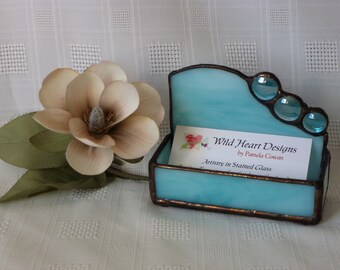 Stained glass Aqua business card holder