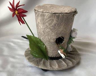 Tiny Top Hat: Bird House - Lolita Tan Beige Bird adorable cute quirky gift bird lover cosplay costume