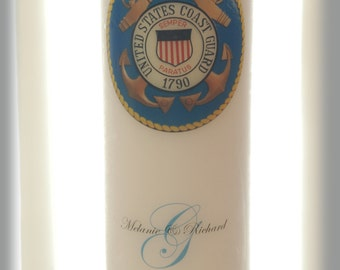 Personalized Coast Guard Military Unity Candle Set, wedding candles, weddings, wedding decorations