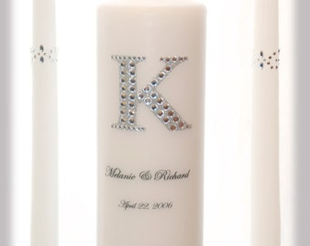 BLING Personalized Unity Candle Set with Monogram I Wedding Ceremony Candles I Weddings I Wedding decorations