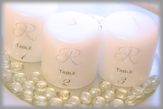 Wedding reception candle table numbers, wedding decorations, wedding on